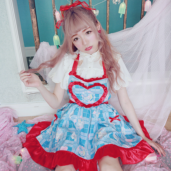 Princess sweet lolita dresses BOBON21 summer refresh sweet heart dresses with bow and lace cross lacing