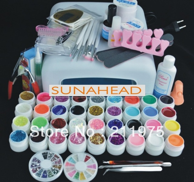 Pro 36W UV GEL Lamp & 36 Color UV Gel Nail Art Tool Kits Sets