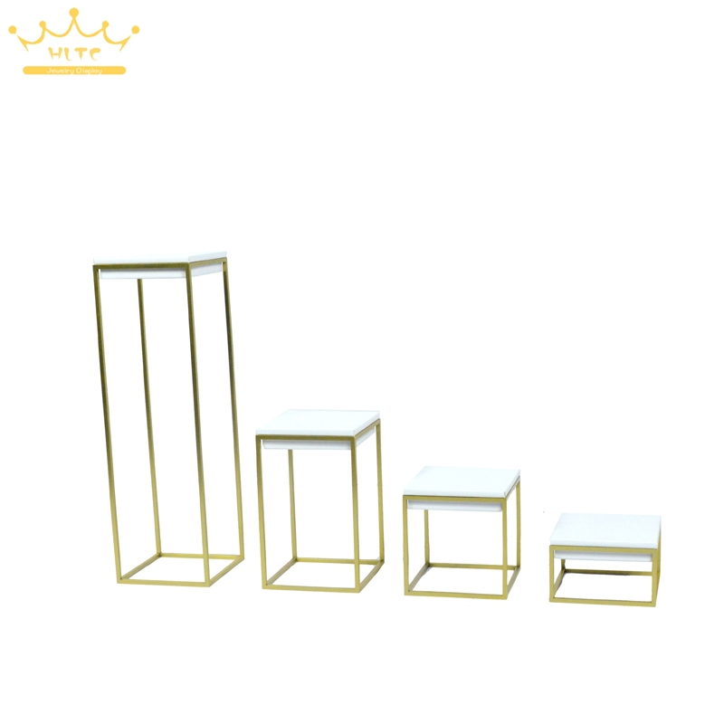 Newest Stainless Steel Jewelry Display Stand Showcase White PU Leather Jewellery Display Rack Stand Holder