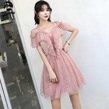 64035baf6223 FOLOBE Estate Elegante Rosa Della Maglia del Vestito Delle Donne di Modo  Coreano Sexy Sequins Delle Increspature di Tulle Del Pa.