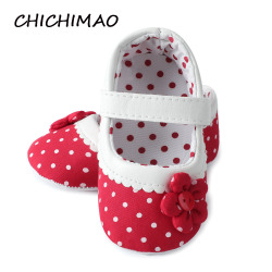 New Born Baby Girl Shoes Princess Polka Dots With Flowers Soft Cotton Toddler Crib Infant Little Kid Sole Anti-slip First Walker