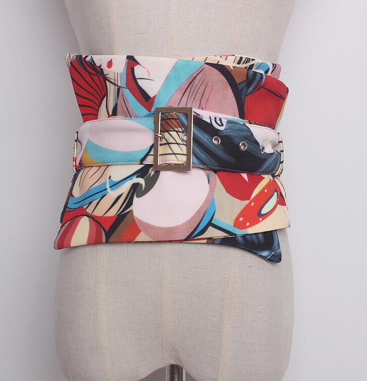 Women's Runway Fashion Wide Fabric Print Cummerbunds Female Dress Corsets Waistband Belts Decoration Wide Belt R899
