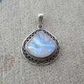 Nepal Silver 925 Silver Pendant inlaid Moonstone Citrine No. 140012004