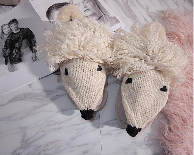 Pois Main Plat À Crochet Couleur De Coton D'origine Femmes Solide Chaussures Et La Agneau Cuir Automne D'hiver Mignon En Kaki Casual Beige Kawaii xrCBoed