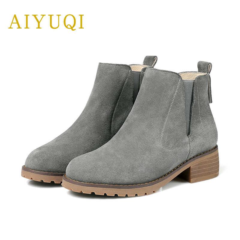 AIYUQI 2019 yeni hakiki deri kadın yarım çizmeler artı kadife sıcak kışlık botlar moda martin çizmeler kadın artı boyutu 41 #42 #43 #
