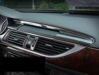 Carbon Fiber Style Dashboard Navigation Trim Strips 2pcs For Audi A6 2012 2018 LHD ABS Car Interior Accessories
