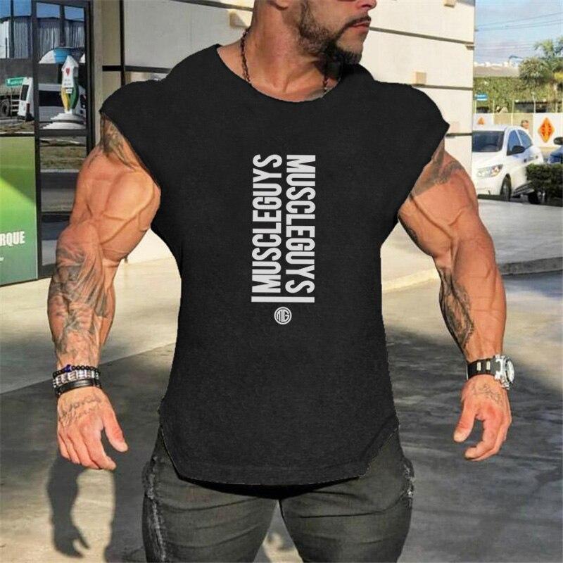 Muscleguys Brand Bodybuilding Sleeveless Shirt Gyms Clothing Canotte Tank Top Men Fitness Singlets Workout Tanktop