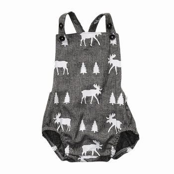 Cute Baby Romper Newborn Baby Boy Girl Fawn Clothes Sleeveless Deer Playsuit Romper Jumpsuit Outfit Sunsuit  0-2Y 1