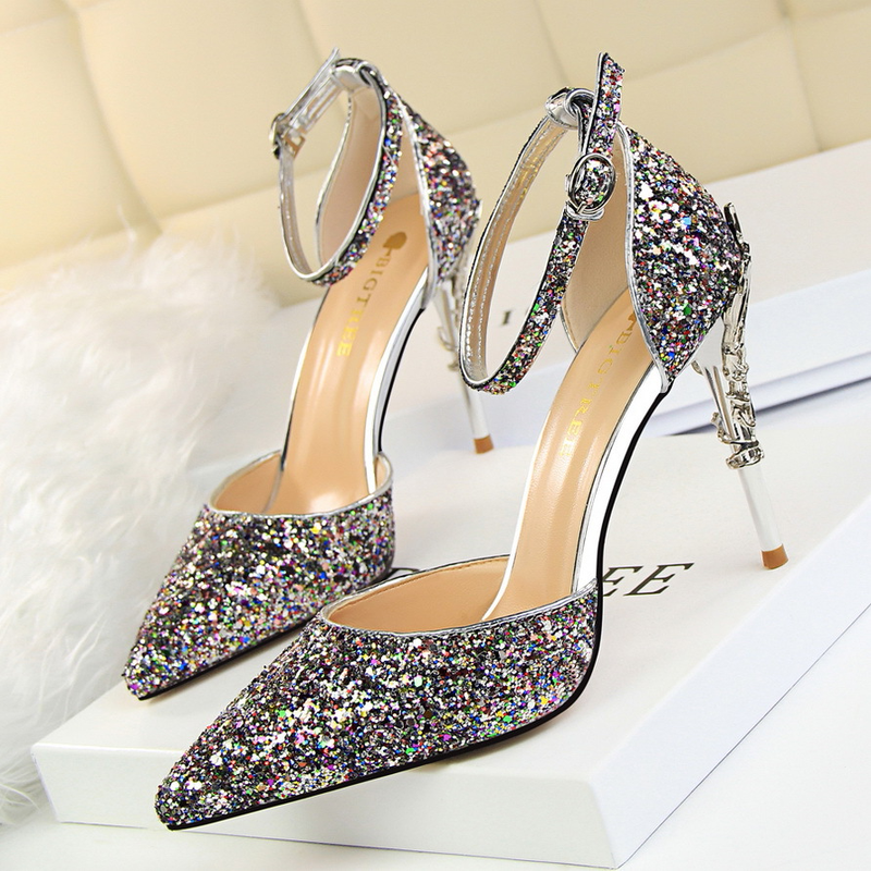 Fashion sexy women shoes 2019 European and American style hollow nightclubs thin metal with high heel shine sequins with sandals in High Heels from Shoes
