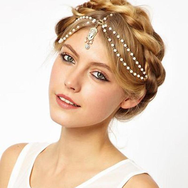 bride hair decoration women tassel headbands hair jewelry indian boho beaded head piece wedding head chain