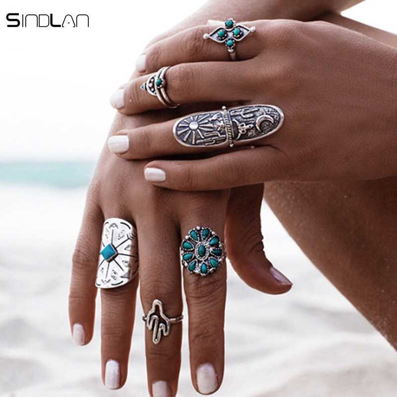 Fashion 9pcs / Set Ring Vintage Carved Geometric Totem Flower Arrows Silver Knuckle Rings Gypsy Bohemia Beach Jewelry For Women