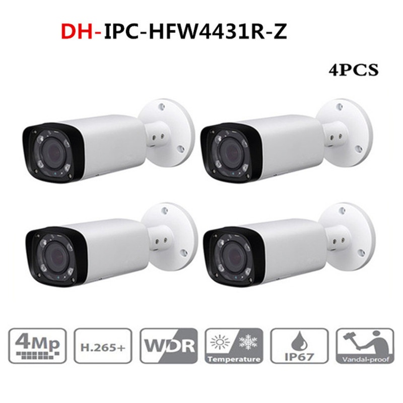 DH IPC-HFW4431R-Z 4pcs/lot 4mp Network IP Camera 2.7-12mm VF Lens Auto Focus 80m IR Bullet Security POE For CCTV SystemDH IPC-HFW4431R-Z 4pcs/lot 4mp Network IP Camera 2.7-12mm VF Lens Auto Focus 80m IR Bullet Security POE For CCTV System