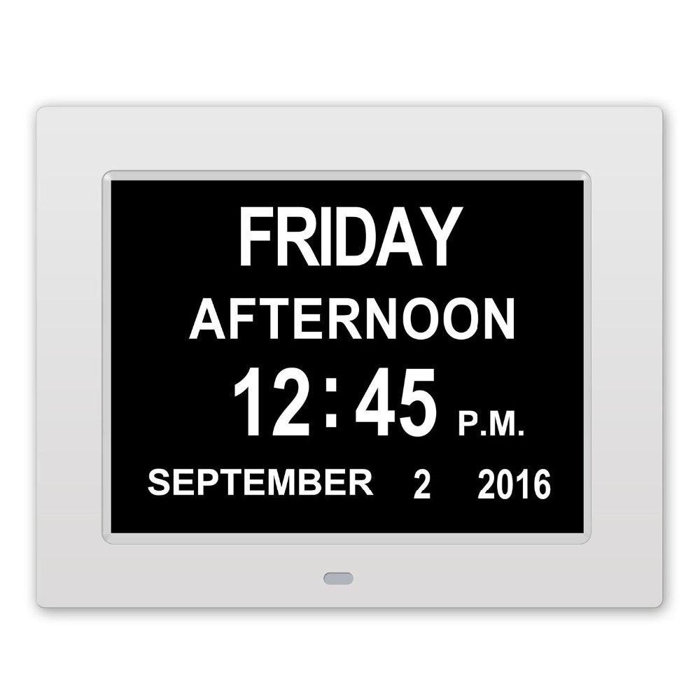 Marco de fotos digital de escritorio y reloj de mesa LED reloj de ...