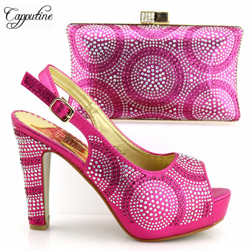 New Style African Ladies Fuchsia Color Shoes And Bag Set Italian Fashion High Heel 11CM Shoes And Bags Set For Wedding TX-192New Style African Ladies Fuchsia Color Shoes And Bag Set Italian Fashion High Heel 11CM Shoes And Bags Set For Wedding TX-192