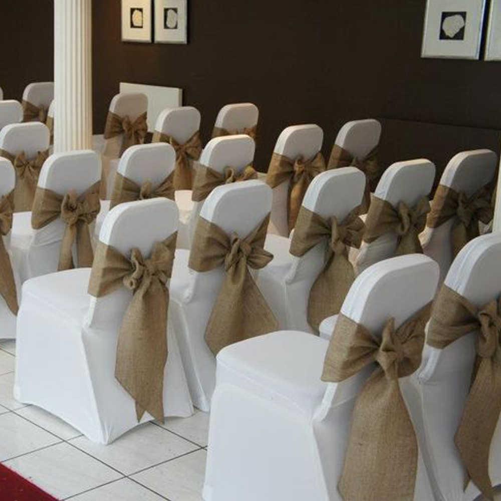 100 шт. высокое качество ручной работы мешочный джут стул с джутовым баннером лента на стул створки для День рождения для новобрачных, вечеринка в честь новорождённого свадебное украшение в деревенском стиле