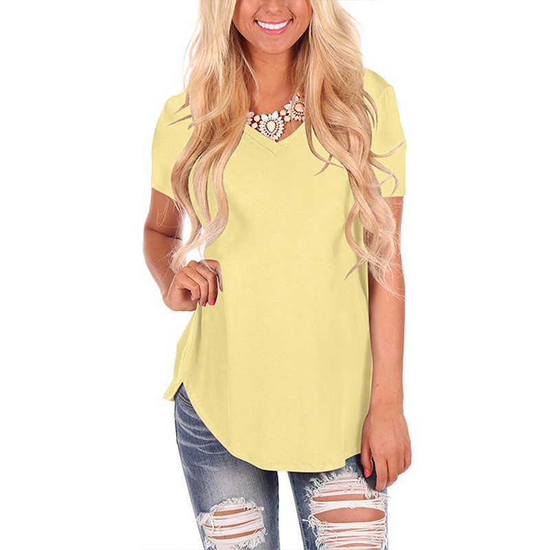 New Short Sleeve Shirts Women Casual Loose Tops Blouses Tee Shirt <font><b>Femme</b></font> Patchwork <font><b>Sexy</b></font> V-Neck Female Blusas Mujer Plus Size <font><b>5XL</b></font> image