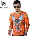 Fire Kirin Long Sleeve T Shirt 2017 Designer Tshirts For Men Top Brand High Quality Tee Shirt Homme 3D Printed Tshirt 4XL T469