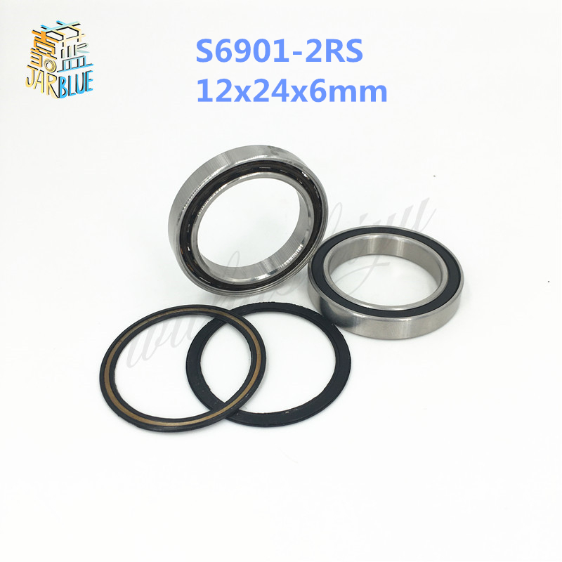 Free shipping S6901-2RS stainless steel 440C hybrid ceramic deep groove ball bearing 12x24x6mm 6901 61901 free shipping 6901 61901 si3n4 full ceramic bearing ball bearing 12 24 6 mm