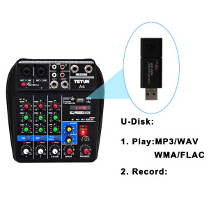 Image 4 - A4 48V Phantom Power 2 Mono 1 Stereo USB Play USB Record Computer Playback Computer Record Bluetooth Mini Audio Mixer