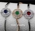 Moda jóias espumante azul verde CZ cristal pulseiras pulseiras ( CB117 )