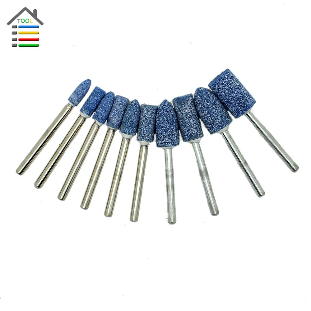 10pc Blue Abrasive Mounted Stone Set Rotary Multi Tool Grinding Burr Wheel 1/8 Shank For Dremel 4000 3000 Grinder Power Tools