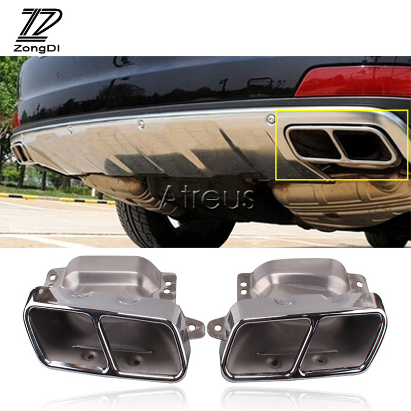 ZD 2X For Mercedes Benz W164 W221 S300 S350 S500 A45 W166 W251 W216 S CLA ML AMG Class Car Exhaust Tail Pipe Muffler Tip Covers for mercedes benz w221 s class s350 s400 s500 s550 s600 s63 s65 amg excellent multi color ultra bright rgb led angel eyes kit