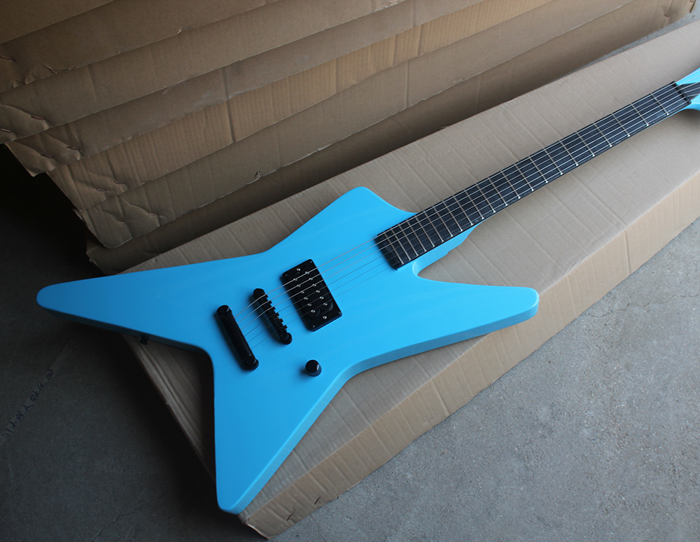 Factory Custom Blue Electric Guitar whit Unusual Shape Body,1 Pickup,Black Hardwares,No Fret Inlay,Offer Customized