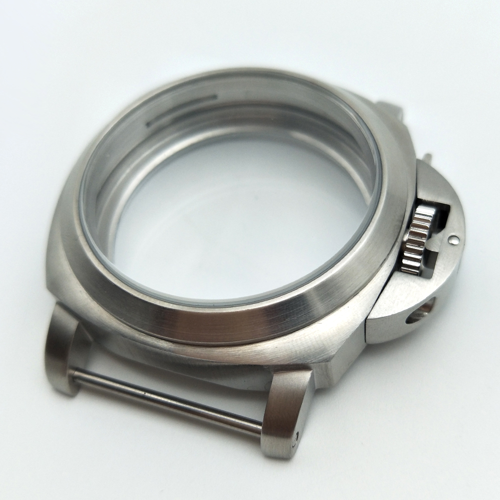 PARNIS silver 44mm brushed stainless steel housing for 6497/6498 movement  p44-2PARNIS silver 44mm brushed stainless steel housing for 6497/6498 movement  p44-2