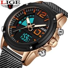Reloj de los hombres LIGE Double display Watch Men Sport Quartz Watch Mens Watches Top Brand Luxury Full Steel Waterproof Clock