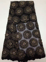 Latest African Lace Fabric Black French Stones Net Lace Fabric High Quality African Beaded Tulle Fabric