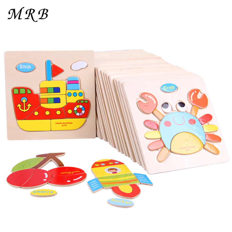 6Pcs/Lot Wooden Cartoon 3D Puzzle Jigsaw Puzzle Tangram Child Educational Gift Montessori education toys