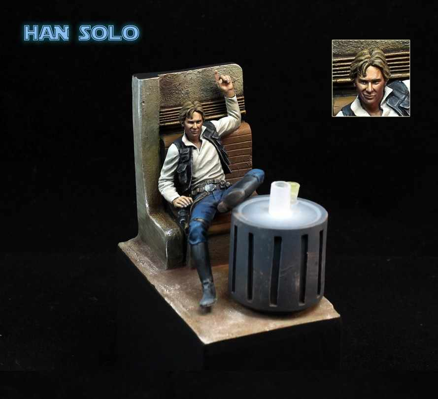 Classic 1/24 Scale Star Wars Han Solo Bar Scene  Miniatures 75MM Unpainted  Resin Model Kit Figures Free Shipping