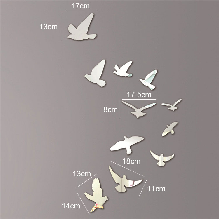 Silver Acrylic Birds Design Mirror Effect Wall Sticker Decal Modern Home Room Decor Decoration Craft