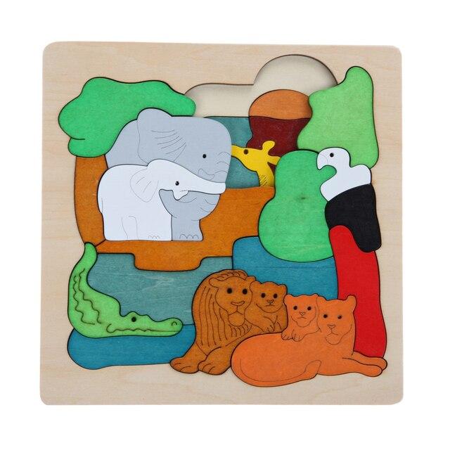 Деревянные Игрушки Многослойные Головоломки Игрушки Раннее Образование 3D Головоломки Детские Игрушки Животных Зоопарка Головоломки Для Детей Kids Подарок