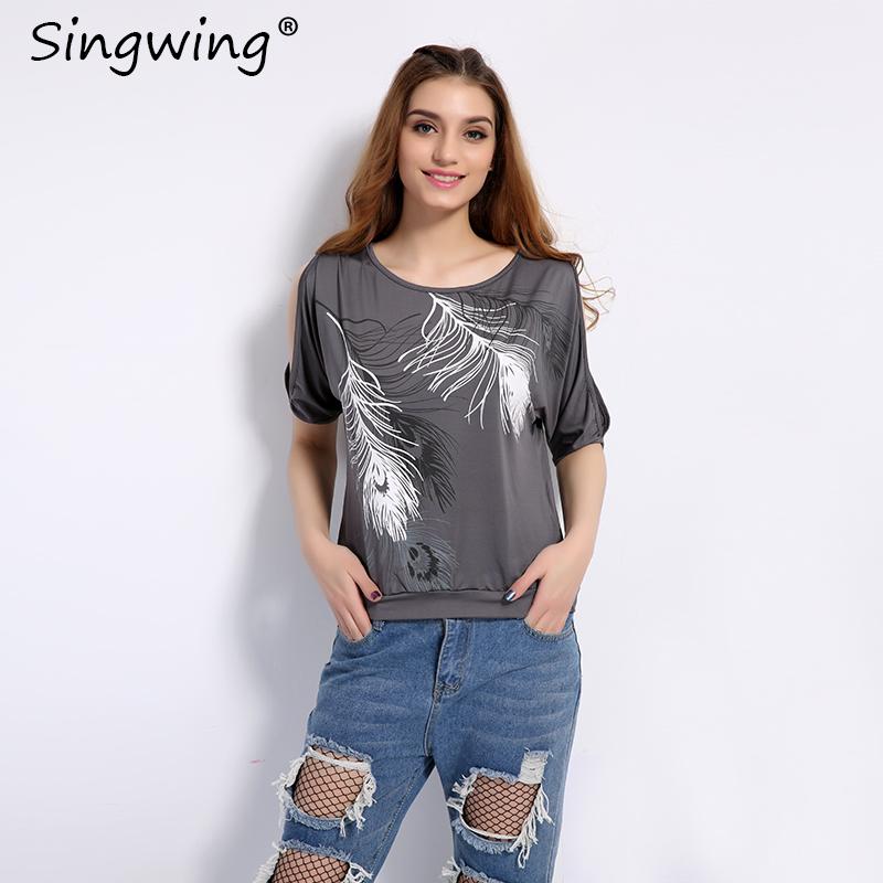 HTB1y0NfSXXXXXcXXpXXq6xXFXXX7 - Summer Women Feather Printed T-shirts O- neck Strapless Shirts Off Shoulder