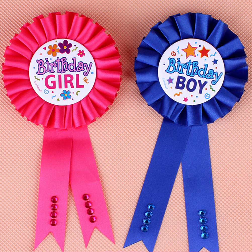 US $0 66 16% OFF|1 PC Pink Blue Boy Girls Birthday Badge baby shower favor  Pin On Ribbon Badge child kids birthday Party's Decorations-in Party DIY