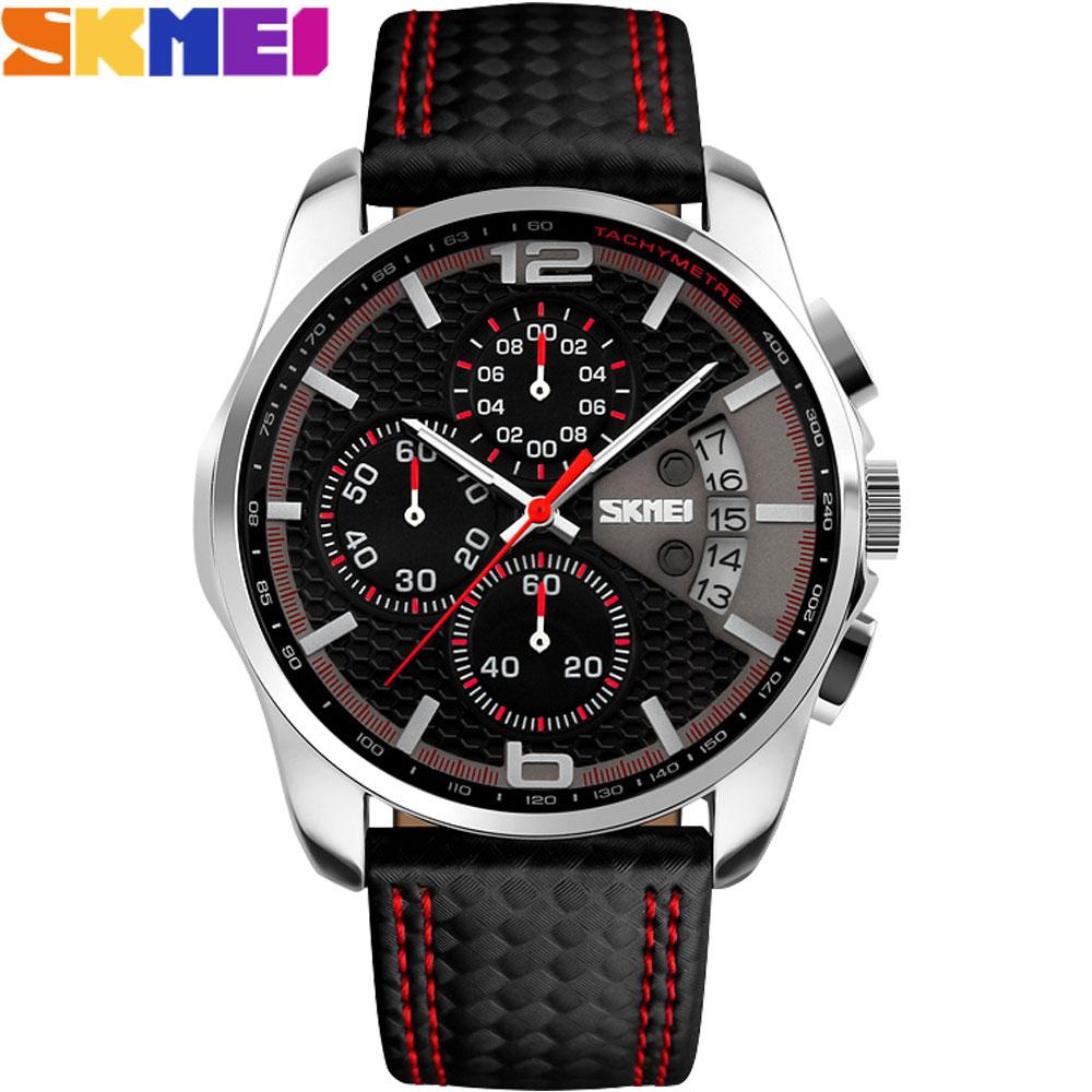 Prix pour Skmei 2017 nouveau populaire marque hommes montres mode analogique à quartz montre 50 m étanche auto date noir cadrans qualité en cuir starp
