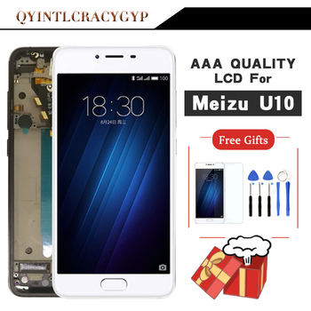 AAA Quality For Meizu U10 Touch Screen Digitizer + LCD Display For Meizu U10 5.0 inch Cellphone With Frame Free Shipping new 6 inch lcd display ed060sce lf for nook2 screen free shipping
