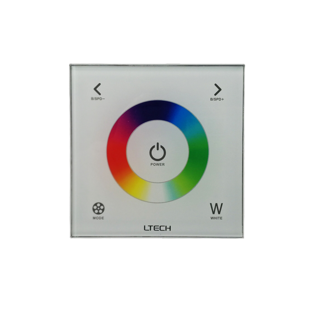 Ltech Led RGBW Controller AC 100V -240V control rgb rgbw Led Strip DMX controller RF remote wireless RGB Touch Controler 4 zone wireless rgb led controller w touch round remote control white