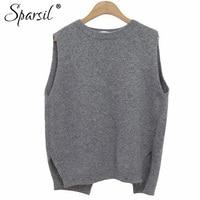 Winter Autumn Women O Neck Cashmere Sleeveless Vest Sweater 2015 Korean Style Fashion Lady Knitwear Jumper