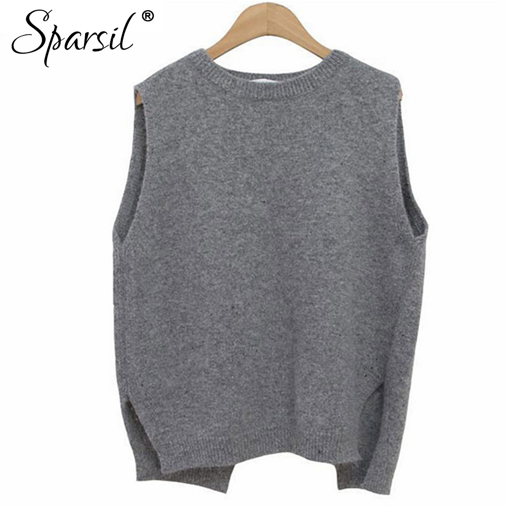 Sparsil Women Winter&Autumn O Neck Cashmere Blend Sleeveless Vest ...