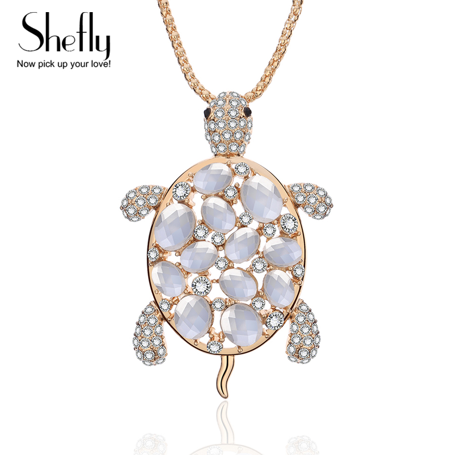 Rhinestone Crystal Turtle Tortoise Pendant Long Necklace Environmental Chain Gla
