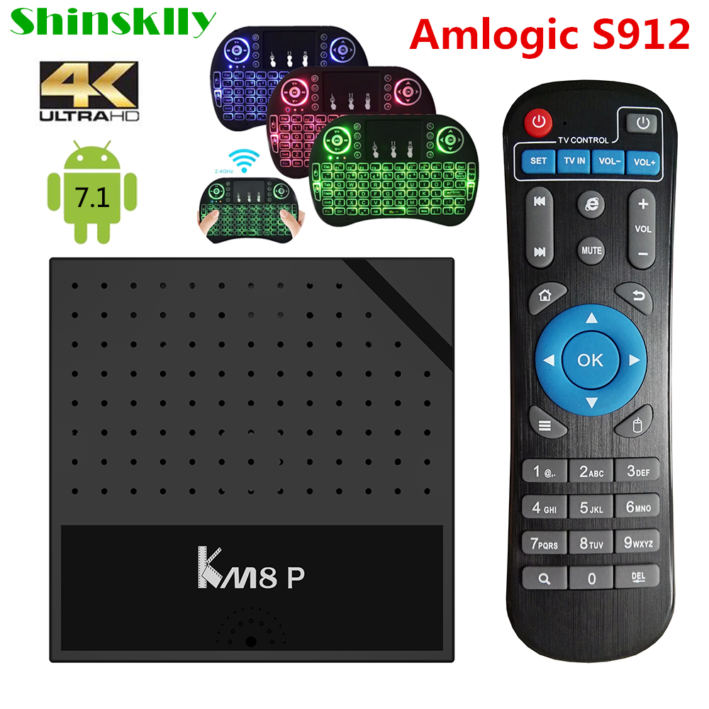 KM8 P TV Box Android 7.1 Amlogic S912 Octa Core Smart TV BOX 1G 2G RAM 8G 16G ROM 2.4GHz WiFi HD 2.0 4K Media Player PK X96 X92 shinsklly x92 android tv box amlogic s912 octa core ram 2g rom 16g 32g smart tv box android 6 0 wifi 4k 3d player set top box