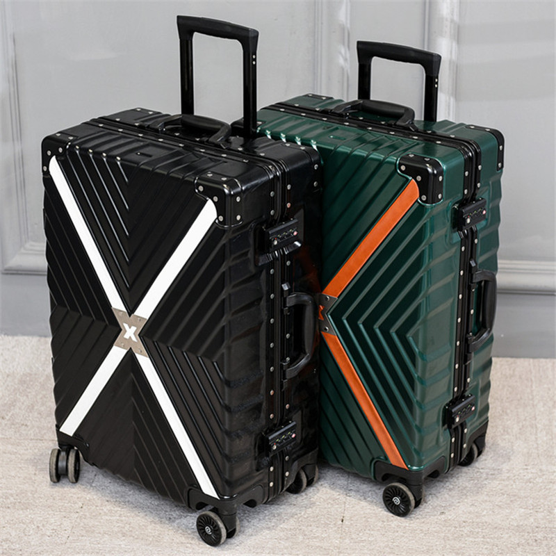 Retro Travel Trolley Luggage With X Belt Aluminum Frame Alloy Business Rolling Luggage Airplane Suitcase Spinner Wheels 20 25 29 aluminum magnesium alloy metal luggage fashion spinner rolling suitcase business aluminum frame luggage
