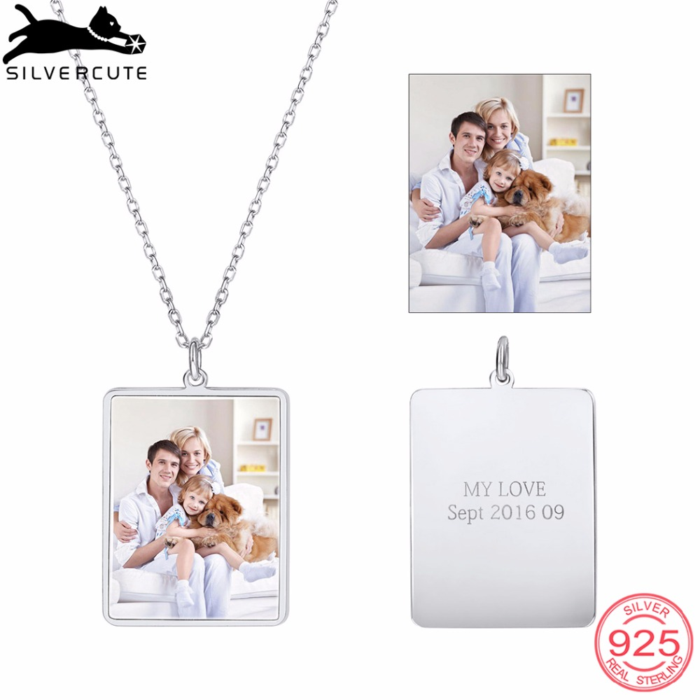 SILVERCUTE Engraved Personalized Custom Photo Square Pendant Necklace 925 Sterling Silver Jewelry Family Memory Gift SCI6278BSILVERCUTE Engraved Personalized Custom Photo Square Pendant Necklace 925 Sterling Silver Jewelry Family Memory Gift SCI6278B