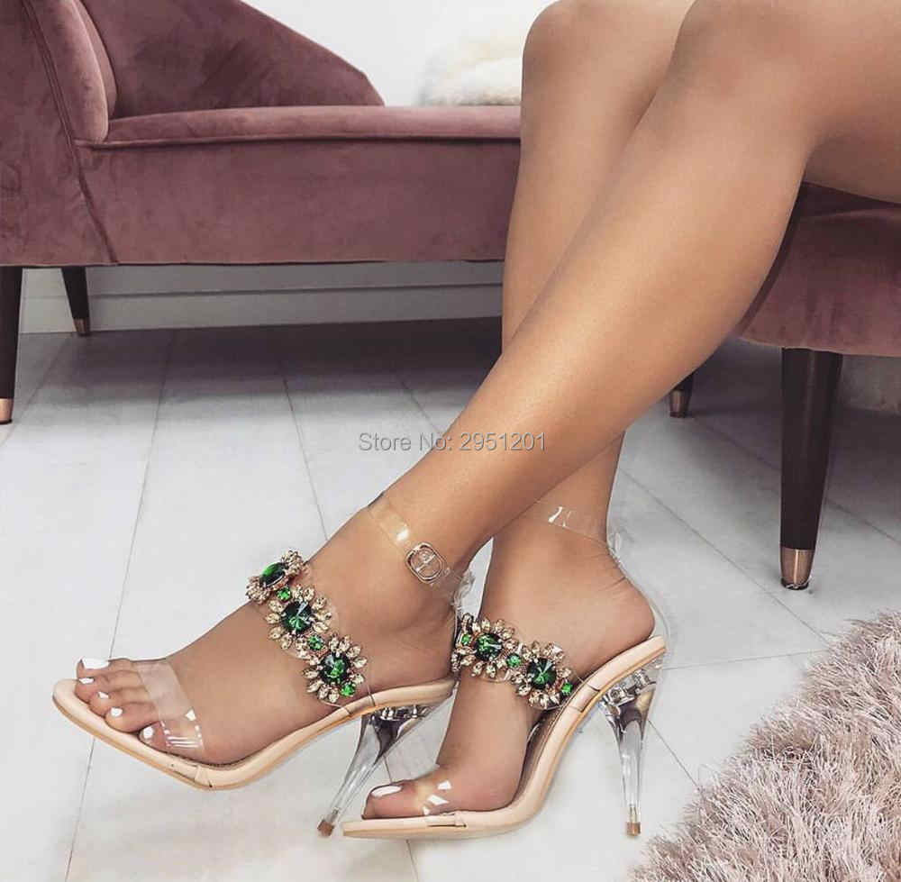 2be0bffbfa 2019 PVC Women Clear Sandals Rhinestone Transparent Shoes Perspex High  Heels Party Crystal Sandals Women Shoes Plus Size 35-43