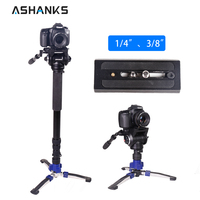 Camera Monopod Stand with Quick Release Plate Flexible Fluid Tripod Head Stabilizer for Canon Sony DSLR Photo Studio Accessories