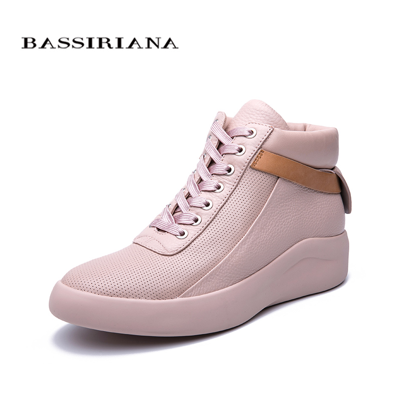 BASSIRIANA 2019 new natural leather flat shoes thick bottom comfortable casual women's shoes color pink black white size 35-40