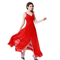 2018 V Neck Red Long Dress Women Sexy Black Polyester Springy Casual Women Dresses Evening Party