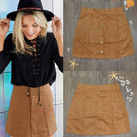 NEW Arrivals Women Solid Stretch Waist Plain Skirt Faux Suede Flared A Line Mini Skirt Hot